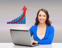 Smiling woman with laptop and growth chart Stock Images