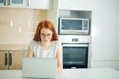 Beautiful young woman smiling and looking at laptop screen Royalty Free Stock Photos