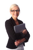 Smiling woman with laptop Stock Photography