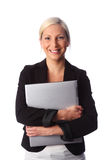 Smiling woman with laptop Stock Image