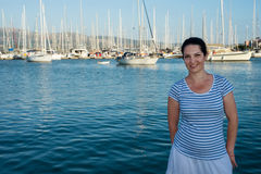 Smiling woman in Lefkada port Stock Photography