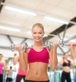 Smiling woman lifting steel dumbbells Royalty Free Stock Photo