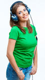 Smiling Woman listen music Stock Photos