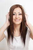 Smiling woman listen to the music Stock Photo