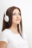 Smiling woman listen to the music Stock Photos
