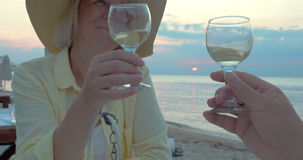 Smiling Woman Listening a Toast and Drinking Wine stock video footage