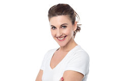 Smiling woman looking at camera Stock Images