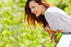 Smiling woman looking on copyspace Royalty Free Stock Photo