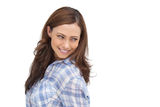 Smiling woman looking something behind her. On white background Royalty Free Stock Images