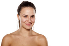 Smiling woman without make up Stock Images
