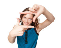 Smiling woman making a frame with fingers Royalty Free Stock Images