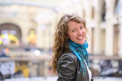 Smiling woman in mall Royalty Free Stock Photo