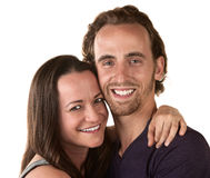 Smiling Woman and Man Close Up Stock Photo