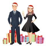 Smiling woman and man congratulate happy new year   Royalty Free Stock Photo