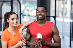 Smiling woman and man after effort Stock Photos