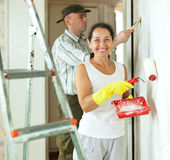 Smiling woman and man makes repairs Stock Photography