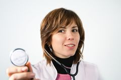 Smiling woman medic with binaural stethoscope Stock Images