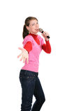 Smiling woman with a microphone Stock Images
