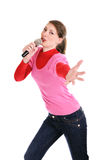 Smiling woman with a microphone Royalty Free Stock Photo