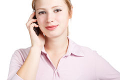 Smiling woman with mobile phone Stock Photography