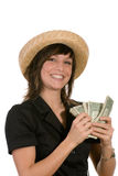 Smiling Woman with Money Royalty Free Stock Photos