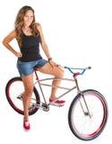 Smiling Woman on Mountain Bike Royalty Free Stock Photo