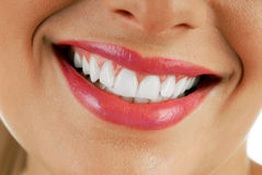 Smiling woman mouth Stock Photo