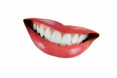 Smiling woman mouth. With great teeth isolated over white background Stock Photo