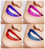 Smiling woman mouth with great teeth. Close up. Stock Images