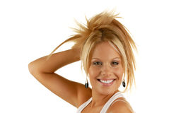Smiling woman mouth with great white teeth. Model isolated over white Royalty Free Stock Photos