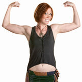 Smiling Woman with Muscles royalty free stock photos