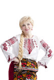 Smiling woman in national ukrainian costume Royalty Free Stock Images