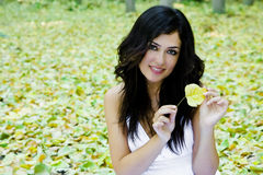 Smiling woman in nature Royalty Free Stock Photo
