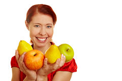 Smiling woman offering fruits Stock Photography