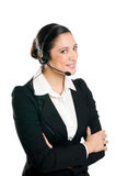 Smiling woman operator with headset Stock Photos