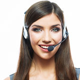Smiling woman operator isolated on white backgroun Stock Images