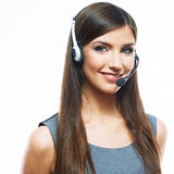 Smiling woman operator isolated on white backgroun Stock Photos