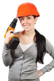 Smiling woman with orange hard hat. isolated Royalty Free Stock Photography