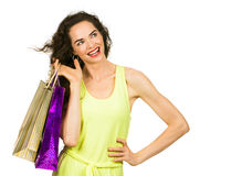 Smiling woman out shopping royalty free stock photo