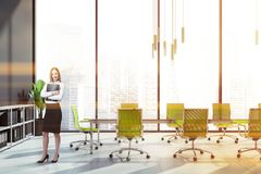 Smiling woman in panoramic meeting room stock images