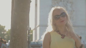 Smiling woman in Paris stock video footage