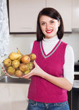 Smiling  woman with  pears Stock Photo