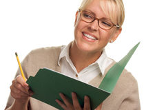 Smiling Woman with Pencil and Folder Royalty Free Stock Photos