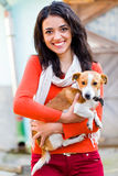Smiling Woman With Pet Royalty Free Stock Photos