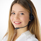 Smiling woman phone operator Royalty Free Stock Photography