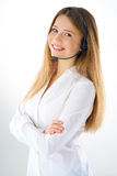 Smiling woman phone operator Stock Photos