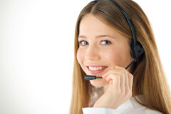 Smiling woman phone operator Stock Photo