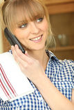 Smiling woman on phone Royalty Free Stock Photo