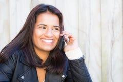 Smiling woman phone Stock Image