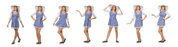 Smiling woman in plaid simple dress and hat isolated on the whit. E Stock Images